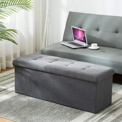 Large Pouffe Faux Leather Ottoman Storage Box Foot Stools 1/2 Seater Bench Seat • 17.99£