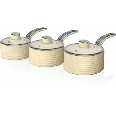 Swan SWPS3020CN Retro 3 Piece Saucepan Set - CREAM- Brand New • 46£