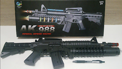 $26.99 • Buy TOY M-16 Assault Rifle With Colored Flashing Lights Sound Vibration BIG AK988 US