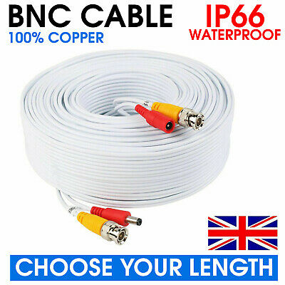 White Bnc Lead Cctv Security Camera Dvr Video Camera Extension Dc Cable 5m -100m • 6.95£
