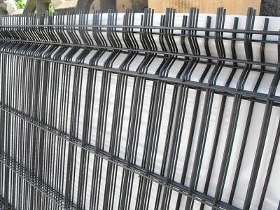 Black Fence With Posts Set Panel Fencing 250cm X 100cm Wire Mesh Metal Barrier • 400£