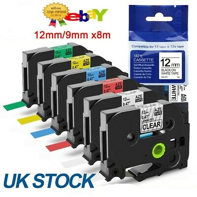 Label Tape Compatible With Brother P-Touch Laminated Tze, Tz 12mm, 9mm • 3.95£