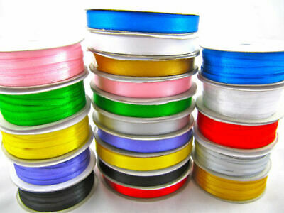 Satin Ribbon Rolls, Double Sided, 3mm, 10mm And 20mm Wide, Range Of Colours • 2.49£