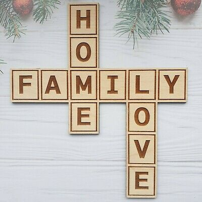 FAMILY HOME LOVE Wooden Sign Plaque Wall Hanging House Home Decoration Gift PLY • 8.95£