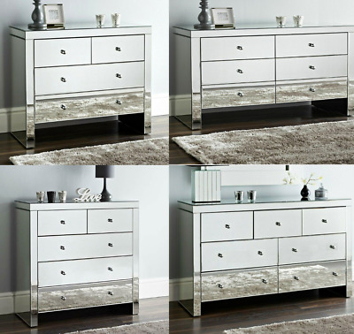 Mirrored Chest Of Drawers Mirrored Cabinet Storage Lowboy Tall Bedroom Sideboard • 199£