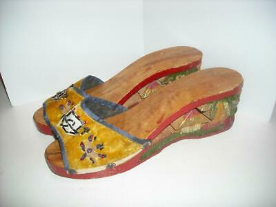 AU16.67 • Buy WWII Vintage Hand Carved Wooden Wedge Shoes Philippines Palm Trees Hut