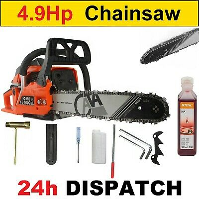 "View Details Petrol Chainsaw FUEL SAVE - 65cc And 4.9HP - 16"" - German Quality + Stihl Oil • 89.00£"