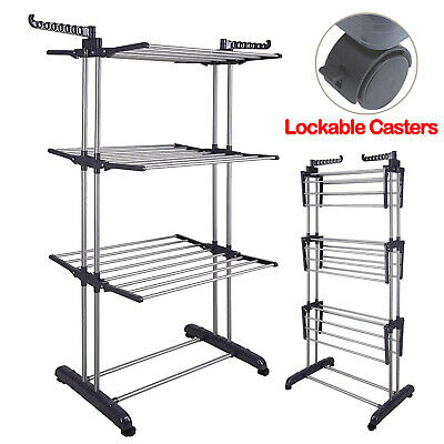 £22.99 • Buy Extra Large Folding 3 Tier Clothes Airer Indoor Outdoor Laundry Dryer Rack Line