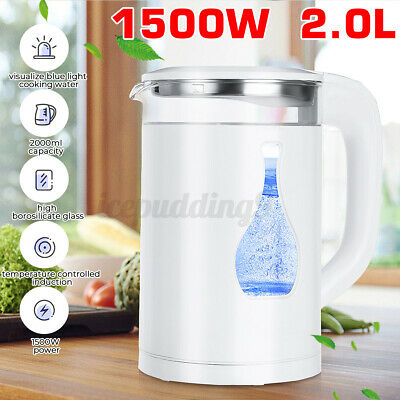 AU26.99 • Buy 2.0 L Electric Glass Kettle 1500W Blue Led Light Kitchen Water Jug Quickly Boil