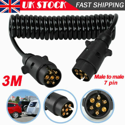 3M 7 Pin Trailer Light Board Extension Lead Cable Plug Socket Towing Wire Truck • 9.99£