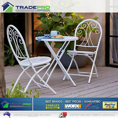 AU209 • Buy Outdoor Setting 3pc Table Chairs Cafe Patio Garden Set Foldable Steel Seat White