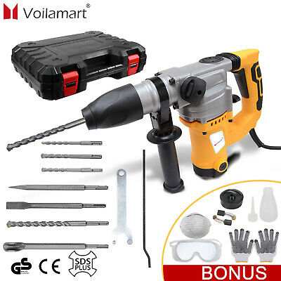 2000W Electric Hammer Drill Demolition Rotary Chuck SDS Plus Bit Set 2 Chisels • 68.99£
