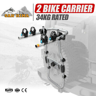 AU129.95 • Buy 2 Bike Carrier Rack For Spare Wheel Mount Bicycle Carrier Rear Car SUV 4x4 4WD