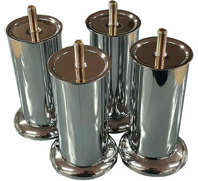 4x CHROME LEGS FURNITURE FEET For SOFAS BEDS CHAIRS STOOLS CABINET 120mm HEIGHT • 9.89£