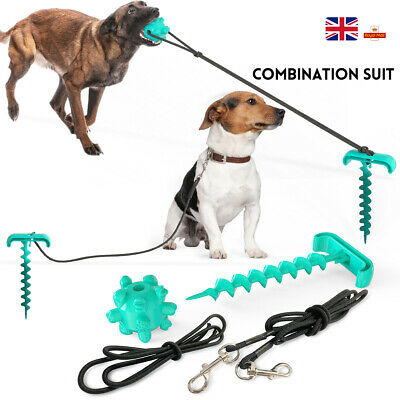 Spiral Stake Pole Tie Out Collar Cable Lead Leash Dog Pet /Dog Toy Combination • 15.82£