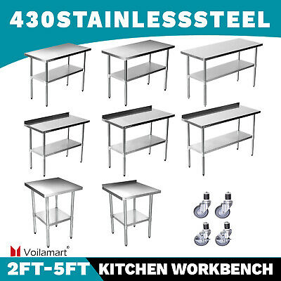 £25.95 • Buy Voilamart Commercial Stainless Steel Kitchen Catering Table Work Bench Worktop