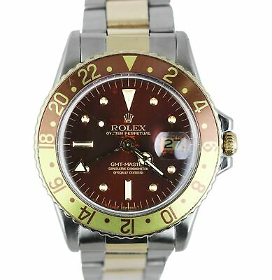 $ CDN14196.36 • Buy Vintage 1973 Rolex GMT-Master 1675 Brown Root Beer Two-Tone 18K Gold Stainless
