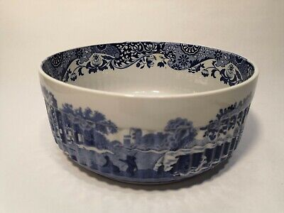 Spode Italian Blue Design Large Souffle Dish 7  Oven To Table  • 24.99£