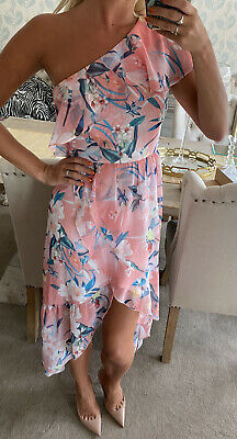 Lipsy Coral Floral High And Low One Shoulder Dress Size 16 New With Tags • 19.99£