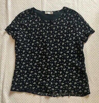 Genuine Caroline Charles Blouse, UK 14, Black/White Floral Print, Short Sleeves • 40£