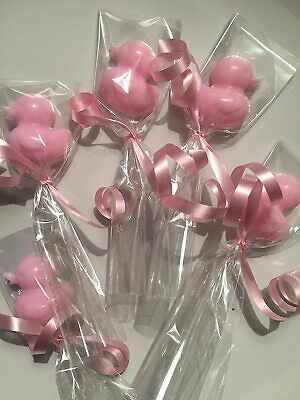 MINI DUCK SOAPS 9 Individually Wrapped Pink Baby Shower Christening Favours  • 3.29£