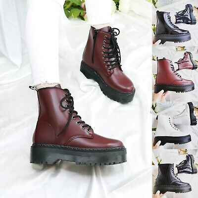 Ladies Womens Ankle Lace Up Platform Chunky Goth Punk Zip Icon Retro Shoes Boots • 19.99£
