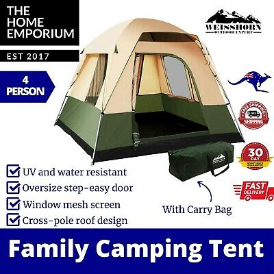 AU124.95 • Buy Family Camping Tent 4 Person Hiking Beach Tents Canvas Ripstop Green WEISSHORN