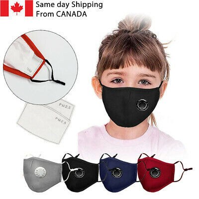 $ CDN6.99 • Buy KIDS 2 Free Filters &Valve Mask With Filter Pocket/Reusable Washable Cotton Mask