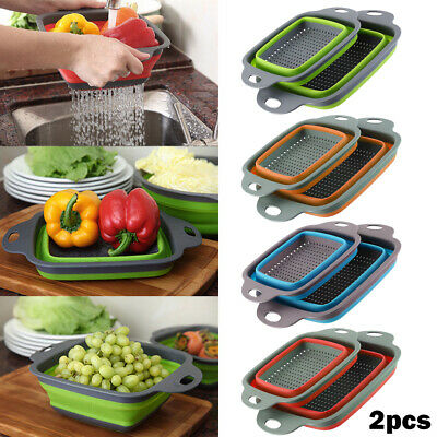 2PCS Kitchen Collapsible Silicone Colander Fruit Vegetable Fold Strainer Basket • 7.79£