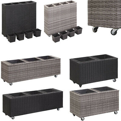 Garden Raised Bed With 2/3/4 Pots Poly Rattan Outdoor Flower Box On Wheels New • 41.75£