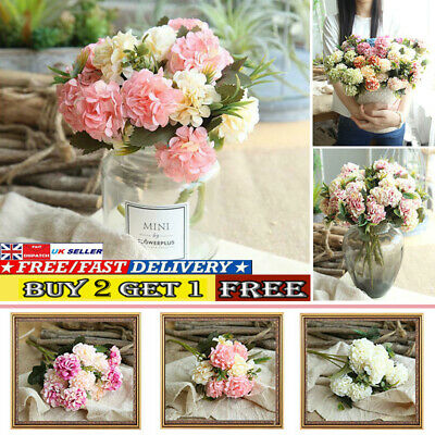 Silk Artificial Hydrangea Flowers Decor Fake Wedding Party Home Bouquet Bunch • 3.84£