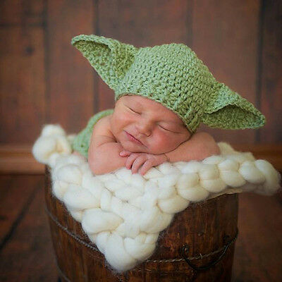 Newborn Baby Yoda Photo Props Star Wars Outfits Crochet Knit Baby Costume • 6.77£