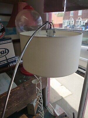 Elegant Floor Lamp Nickel Arched Base  & Vintage White Shade  Inline Foot Switch • 65£