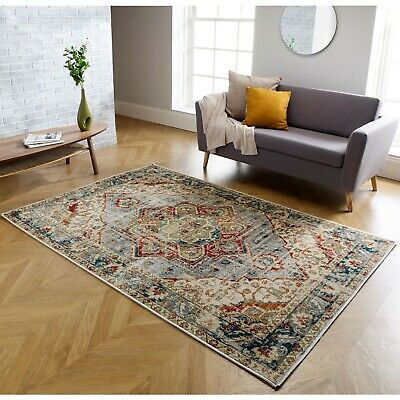 New Modern Traditional Faded Grey Blue Rug Large Small Living Room Mat Cheap UK • 89.99£