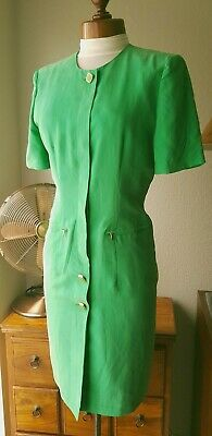 Vintage Betty Barclay Green Silk Button Up Pencil Dress Size 8 80s Power • 24.99£