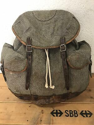 1943 Swiss Army Military Backpack Rucksack Canvas Leather Vintage • 99.26£