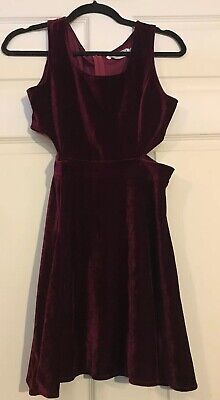 £10.17 • Buy Hearts And Bows Burgundy Velvet Cut Out Dress Size 10