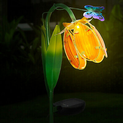 GloBrite Outdoor Lily Butterfly Flower Metal Solar Stake Lights Garden Globe UK • 10.95£