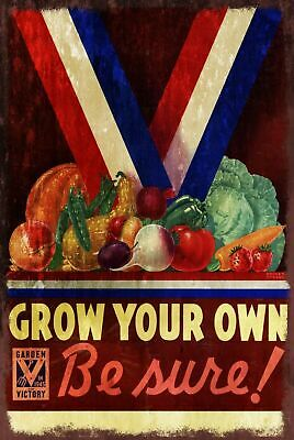 Grow Your Own Veg Poster Vintage Look Retro Metal Sign, Allotment Shed Garden • 7.49£