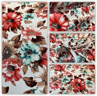 👗Soft Printed Poly Viscose Floral Printed Dress Fabric,SkirtsBlouse Metre Price • 5.50£