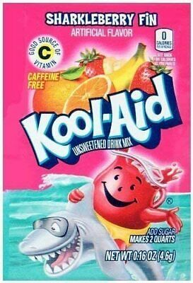 KOOL-AID SHARKLEBERRY FIN Unsweetened Drink Mix (6 Packets) | American Candy • 5.50£