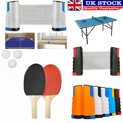 Portable Indoor Table Tennis Ping Pong Set Paddle Bats Telescopic Extending Net • 10.99£