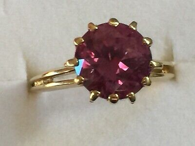 AU330 • Buy 9K Yellow Gold & 3CT Synthetic Alexandrite  Ring,4.3 Grams, Vintage