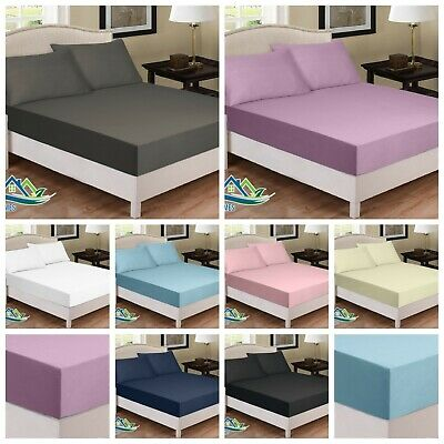 Extra Deep 30cm JERSEY Cotton Fitted Sheet Bed Single Double King Sup.King Size  • 11.46£