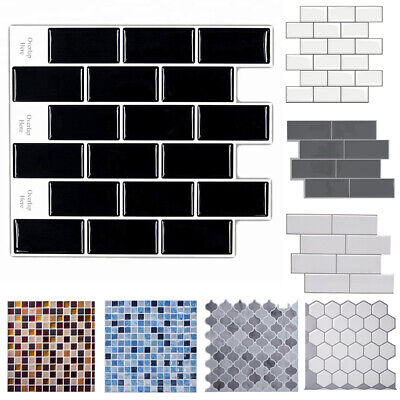3D Mosaic Kitchen Bathroom Tile Stickers Self-adhesive Wallpaper Cover Oilproof • 6.95£