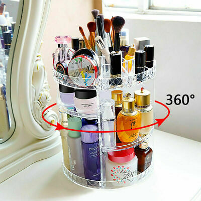 Acrylic 360 Rotating Makeup Organiser Cosmetics Storage Box Display Stand  • 9.99£
