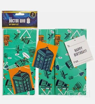 £3.49 • Buy Doctor Who Gift Wrap Set Birthday Tags Wrapping Paper TARDIS Dalek Official New