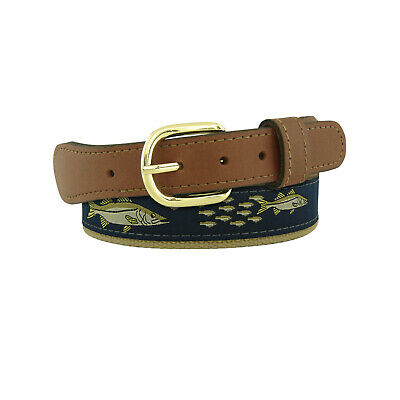 $21.99 • Buy ZEP-PRO Embroidered Leather Canvas Ribbon Fishing Belt SNOOK Belt Size 32-54