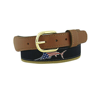 $21.99 • Buy Mens MARLIN USA Embroidered Leather Canvas Ribbon Belt  Zep Pro Red White Blue