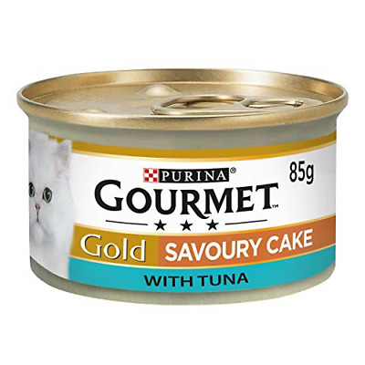GOURMET Cat Adult Food Gold Savoury Cake Tuna Can, 85 G - Pack Of 12 • 7£